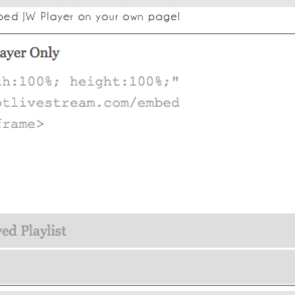 Live Stream HTML Embed